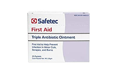 Safetec Triple Antibiotic .9 g. Pouch (25 Count Box) - First Aid Ointment for Minor Cuts, Scrapes and Burns (Pack of 4 Boxes)