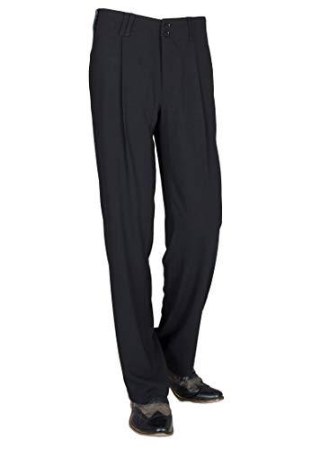 Herren Hosen in Schwarz mit Gerade geschnittenen Beinen, Retro Vintage Swing Stil Anzughose Business Casual Model Swing Größe 46