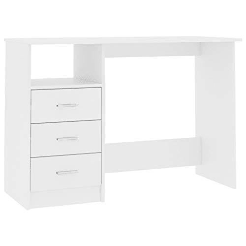 Ausla - Escritorio con cajones blancos, 110 x 50 x 76 cm, con 3 cajones y un compartimento abierto, mesa para ordenador de oficina o casa