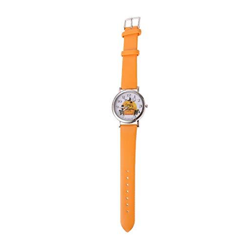 1PC Patrn de Calabaza de Halloween Reloj de Cuarzo Escala numrica Reloj de Pulsera de Regalo de Moda (Amarillo)-Disfraz de Halloween