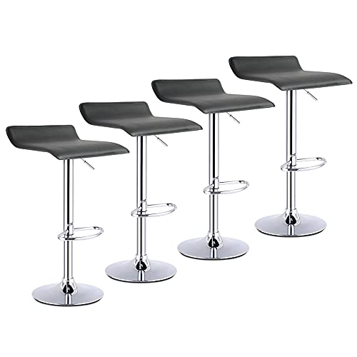 CAMORSA Bar Stools Set of 4, Height Adjustable Bar Chair, Faux Leather 360° Swivel Kitchen Stool with Footrest, Gas Lift Stool for Kitchen, Living Room