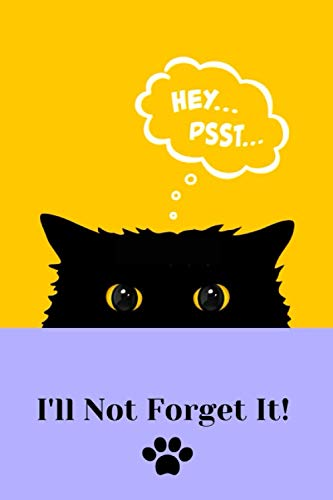I'll Not Forget It!: Black cat in the shadow password book with alphabetical tabs.