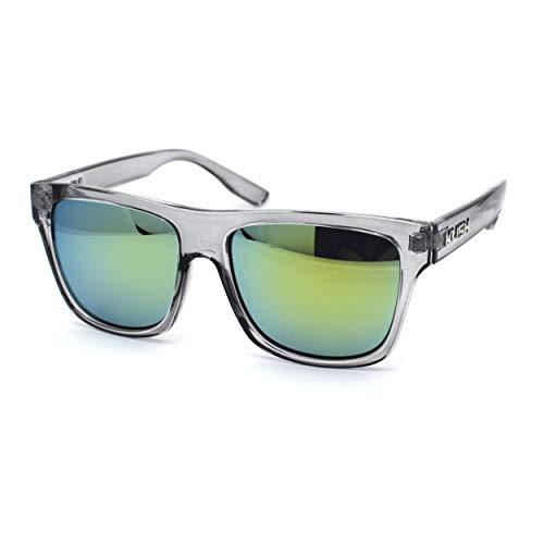 Mens Flat Top Horn Rim Kush Color Mirror Rectangular Sport Sunglasses Clear Yellow Mirror