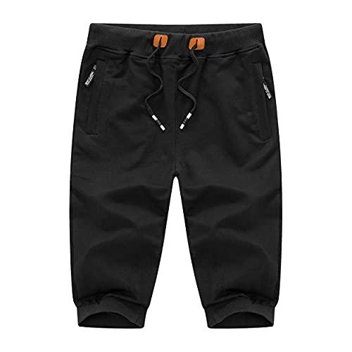 DOBOLY Men's Capri Shorts 3/4 Joggers Sweatpants Zipper Pockets Running Shorts Workout Gym Shorts(32,Black)