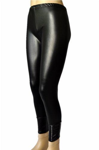 Unbekannt Leggings in Leder-Look Schwarz lang mit Strass Größen S/M und L/XL Größe: S/M