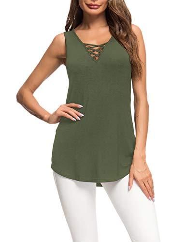 AUSELILY Camiseta Casual de Manga Larga para Mujer Camiseta básica con Cuello en V Cruzada(Ejercito Verde,38)
