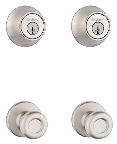 Kwikset Tylo Satin Nickel Hall/Closet Door Knob and Single Cylinder Deadbolt Project Pack Featuring SmartKey Security