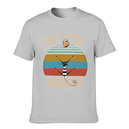 Camiseta de algodón para hombre con texto en alemán Ich Bin Hier für das Boos Cat Beer Gris plateado. XXL