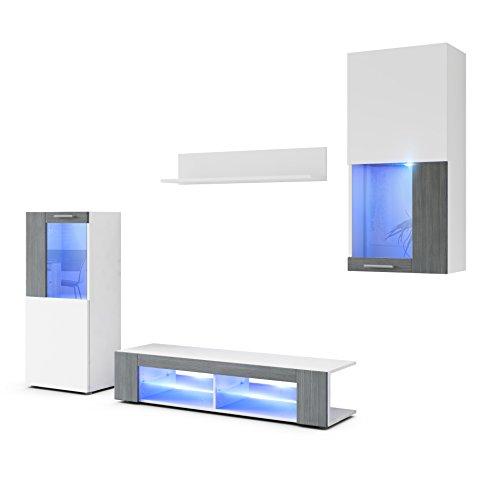Wohnwand Anbauwand Movie, Korpus in Weiß matt/Fronten in Weiß matt und Avola-Anthrazit mit Blauer LED Beleuchtung
