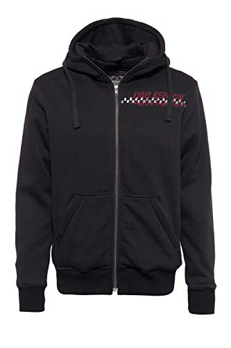 King Kerosin Herren Hoodie Jacket | Kapuzen Sweat Jacke | Eingriffatschen | Stickerei Motor Way