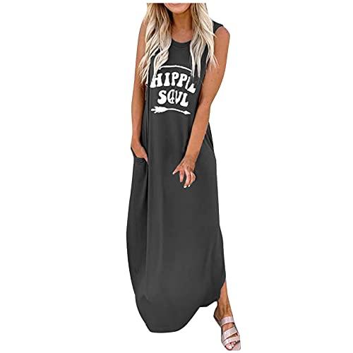 Vestido de verano para mujer, vestido de playa de verano, de moda, con cuello en O, sin mangas, letra impresa, casual, Daliy Boho largo, vestido largo casual, túnica larga, vestidos midi maxi, holgura