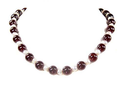 Halskette aus Granat in Kugelform und Süsswasserperlen L-49 cm