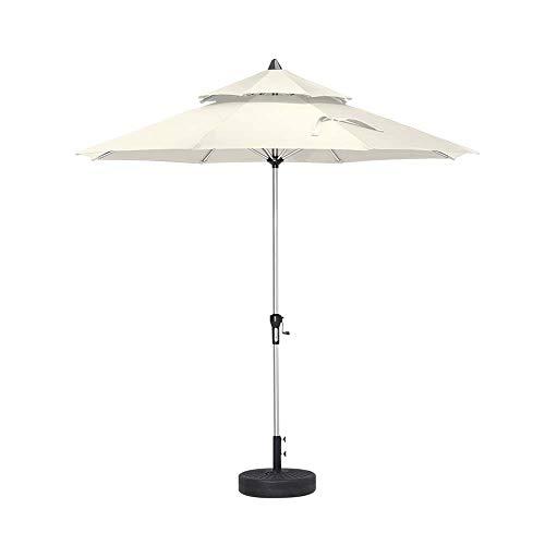 LJLYL 9Ft Sonnenschirm Gartenschirm, Aluminiumlegierung Tabelle Parasol, Double Tops Octagonal Polyester Dach, Für Garten Hinterhof Rasen Strand,Beige