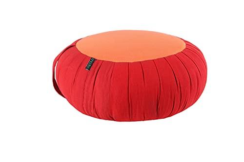 ANADEO YogaProducts ZAFU - Cojín para Yoga y Meditación - Capok 100% Natural de Alta Densidad - Asiento Firme y Cómodo - Espesor Redondo 15 cm - Rojo AZAFRÁN