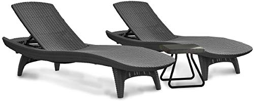 KETER Pacific Chaise Sun Lounger and Side Table Set (Charcoal (Set of 4))