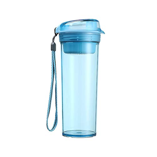 Agal Thermo Cup with Rope Best Sports Water Bottle Fast Flow, Flip Top Leak Proof Lid W/One Click Open BPA Free & Eco-Friendly Plastic Travel Tumbler (Color : Blue)