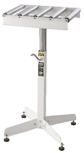 Adjustable Roller Table Stand HTC HRT-10 Super Duty Conveyor Feed Stand With 5 Ball Bearing Rollers , White