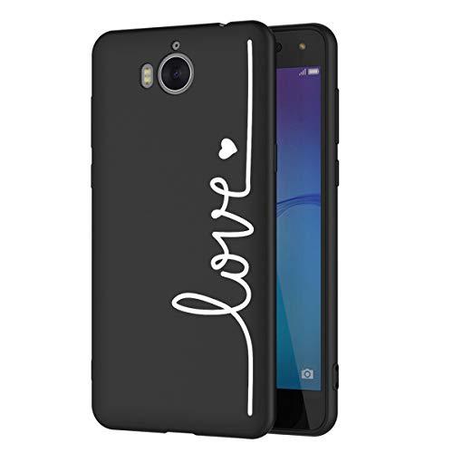Zhuofan Plus Huawei Y6 2017 Hülle, Silikon Schutzhülle mit Schwarz Muster Motiv Handyhülle Weiche TPU Kratzfest Tasche Case Backcover für Huawei Y6 2017 / Y5 2017 / Nova Young - 5