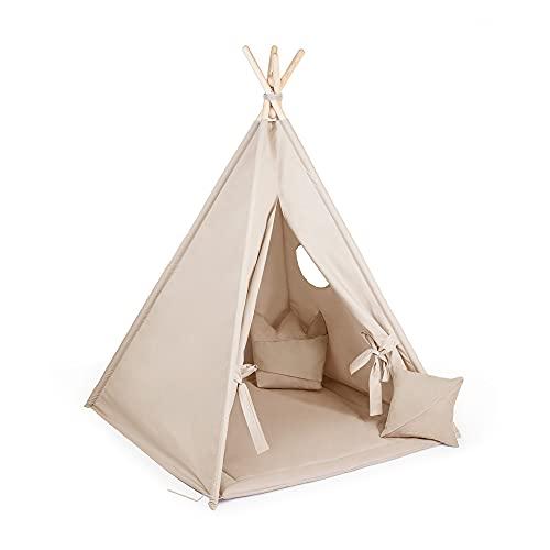 Kinder Zelte Spielzelt Tipi für Kinder aus Holz | Tipi Zelt Indoor minimalistisches Design | Kindertippi Zelt mit Öko-Baumwolltakin | 100% ECO | Made in EU