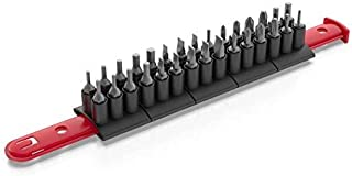Olsa Tools Hex Bit Organizer for Tool Storage and Keeping-Holds up to 30 Hex Bits, Durable and Hex Bit Holder Rail by, Red Rail with Black Clips