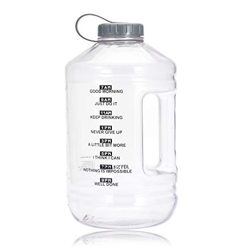 JOYSHAKER Wide Mouth water bottle,BPA Free Tritran 17oZ Kis Sport bottles,Gallon Water Bottle With time Marker,2.5L Big Bottle Jug (White, 128oz)