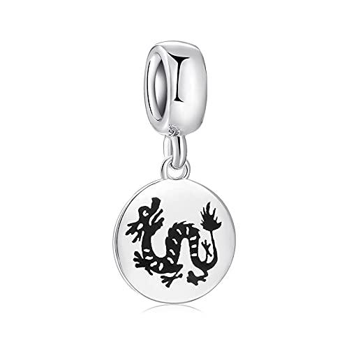 LISHOU Regalo De Mujer 925 Cuentas De Plata Esterlina Medalla del Zodiaco Chino Animal Dragón Encantos Colgante De Cuentas Pulseras Collares con Cuentas Fabricación De Joyas De Bricolaje