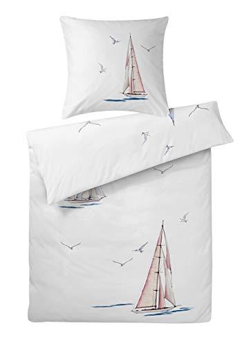 Carpe Sonno extra feine Interlock Jersey Bettwäsche 135 x 200 cm Weiß mit Segel-Boot & Möwen aus 100% Baumwolle - 2-TLG bügelfreie Bettwäsche Garnitur mit Kopfkissenbezug - Made in Germany