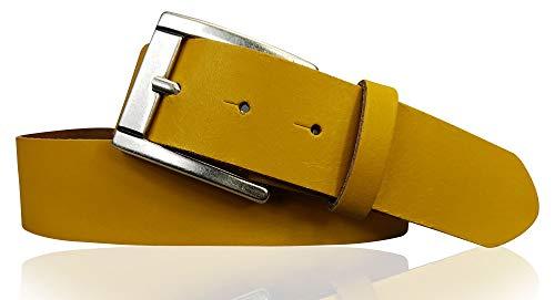 FRONHOFER Basic Gürtel 4 cm aus echtem Leder mit schöner altsilbernen Schnalle, Jeansgürtel, Anzuggürtel 18616, Größe:Körperumfang 85 cm/Gesamtlänge 100 cm, Farbe:Curry