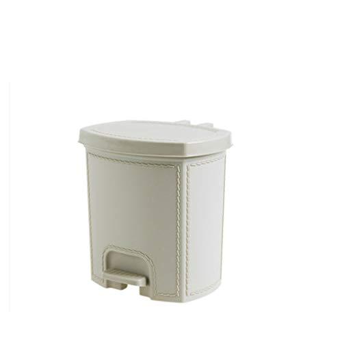 xuejuanshop Papelera Hogar Baño Cocina Cubierto Bote de Basura Hogar Imitación Cuero Grano Pedal Basura Puede Tener Dos tamaños Bote de Basura (Color : Beige, Size : 7L)