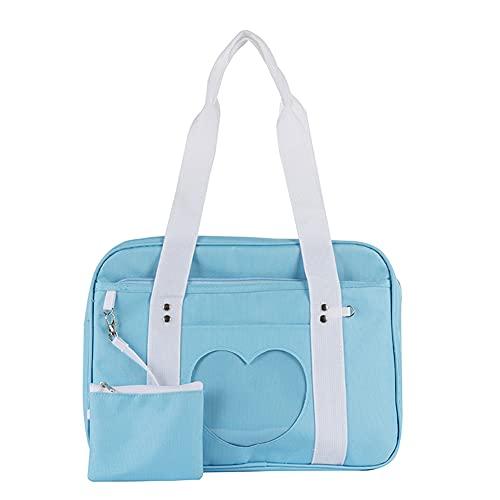 CHAMAIR Ita Bag Corazón Bolso Japonés Mujer Bolso Mujer Mujer Transparente Amor Corazón Patchwork Canvas Bolso Kawaii Grande Hombro Anime Cartera, azul, 36x28x11cm