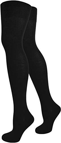normani Top modische Damen Overknees in verschiedenen Designs/Baumwolle mit Elasthan Auswahl Farbe Schwarz/Uni Größe OneSize