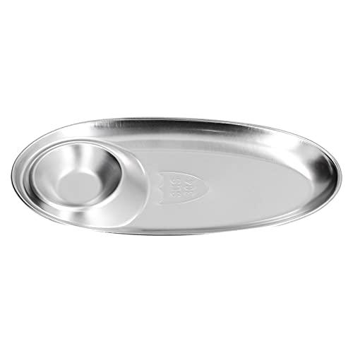 Plato para refrigerios, plato de especias de acero inoxidable 304, bandeja dividida de condimentos ovalados plateados para picnic en el hogar al aire libre, gruesa y estable(Grande)
