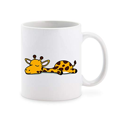 Cute Sleepy Lazy Giraffe Cartoon Coffee Mug Tea Cup Novelty Gift Mugs 11 oz