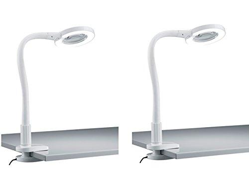 2er Set LED Klemmleuchten / Klammerleuchten LUPO weiß mit Lupe und Flexrohr, Trio Leuchten