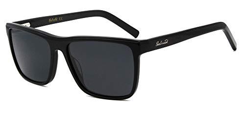 SunCristal Gafas de sol de protección polarizadas UV400 de gran forma para hombre (Negro)