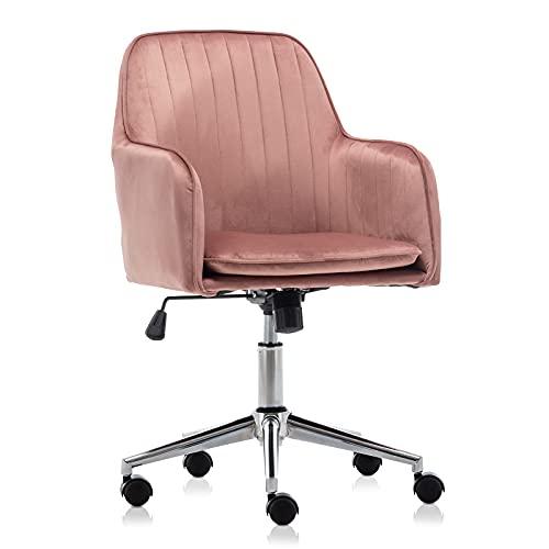 Vanimeu Silla de escritorio ergonómica de terciopelo con brazos para el hogar, silla giratoria de 360°, cojín acolchado, función de inclinación, altura ajustable