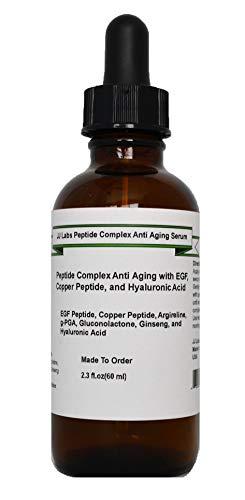 Peptide Complex Anti Aging Serum with EGF, Copper Peptide, Argireline, g-PGA, Hyaluronic Acid (2.3oz, Pump Dispenser)