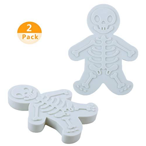 KungFu Mall 2 Paket Lebkuchen Männer Ausstecher Gebäck Kuchen Cutter Kekse Skeleton Form Backen Dekorieren Tools für Halloween Weihnachten Geburtstagsfeier