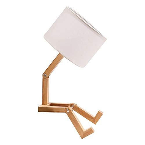 wwssgg Lámpara de mesa de de madera maciza de estilo creativo, sala de estar, , dormitorio, mesita de noche, cálida lámpara de mesa decorativa adecuada para regalos para niños, sala de estar, etc.