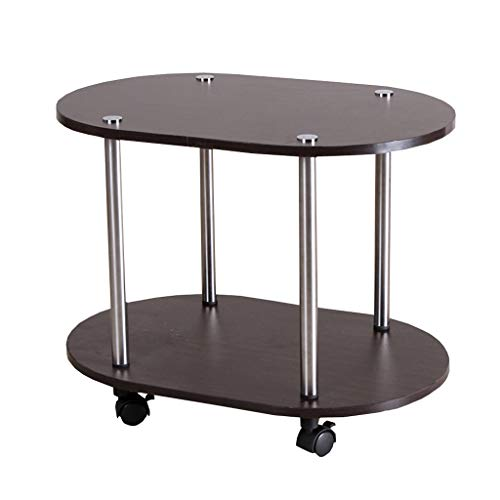 SACKDERTY End Nightstands Patio Coffee Tables Narrow Chair Accent Couch with Storage Rack with Rolling Casters Multipurpose Reversible Espresso Legs for Small Space