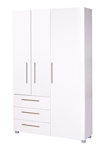 Schildmeyer Brisbane 701010 Dielenschrank, melaminharzbeschichtete Spanplatte, weiß glanz, 118 x 35 x 192,5 cm