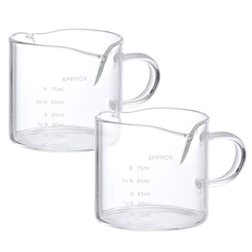 Cabilock 2pcs Glass Creamer Jug Clear Coffee Measuring Shot Espresso Steaming Pitcher Measuring Cup for Kitchen 75ml