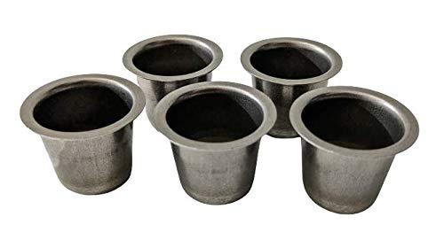 5er Set Kerzentüllen aus Metall, Silber, 22mm., Kerzeneinsatz, Kerzenhalter für Baumkerzen, Tafelkerzen und Teelichter