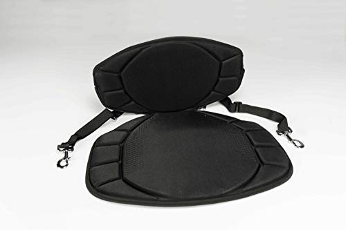 Pelican Boats - Sit-on-top Kayak or SUP Seat – PS0480-3 - Universal Fit Water Repellent Cushion with Back Support, Black