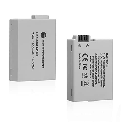 FirstPower 2 Pack Replacement LP-E8 Batteries for Canon EOS Rebel T5i,...