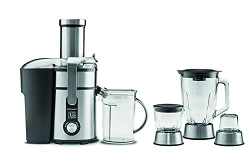 GASTROBACK #40152 Design Multi Juicer Digital Plus, 4 in 1: Zentrifugal-Entsafter, Standmixer, Schnellzerkleinerer und Kaffeemühle,1300 Watt, 5-Stufen, Silber