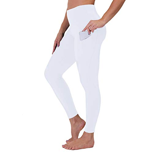 Gayhay High Waist Yoga Pants with Pockets for Women - Tummy Control Workout Running 4 Way Stretch Yoga Leggings (White, Medium)