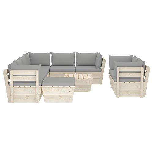 Tidyard Sofás para Patio Muebles de jardín de palés 10 Piezas y Cojines Madera de Abeto 3#