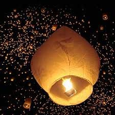 Haven's Treasure Paper Flying Sky Lantern with Fuel Wax Block Candle (Multicolour, 70 X 50 cm, Pack of 25)
