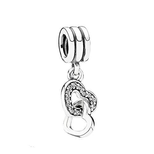 Fit Original Pandora Bracelets 925 Sterling Silver Charm Bead Interlocked Hearts Women Bangle Diy Jewelry Gift